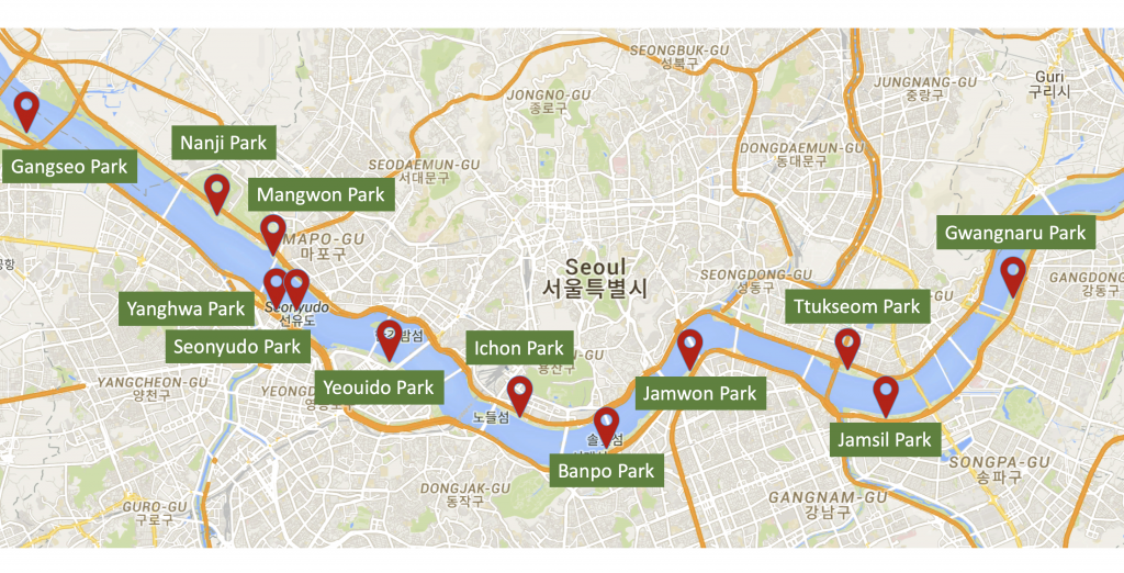 12 beautiful green parks of Hangang Park